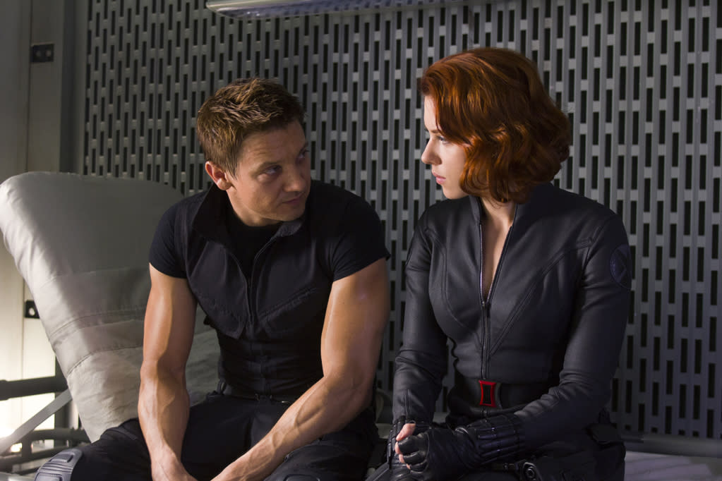 "Jeremy Renner as Hawkeye and Scarlett Johansson as Black Widow in Marvel's <a href=""http://movies.yahoo.com/movie/the-avengers-2012/"">The Avengers</a> - 2012"