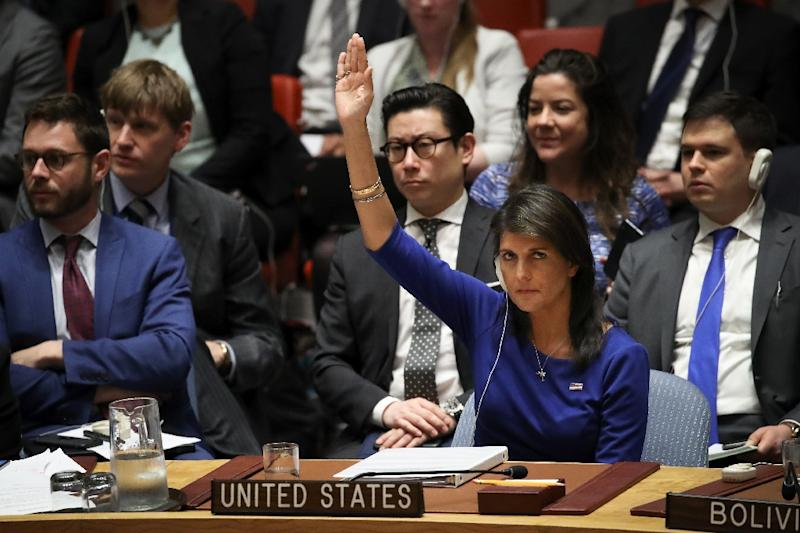Addressing the council, US Ambassador Nikki Haley, pictured, said the United States was confident that the military strikes had crippled Syria's chemical weapons program