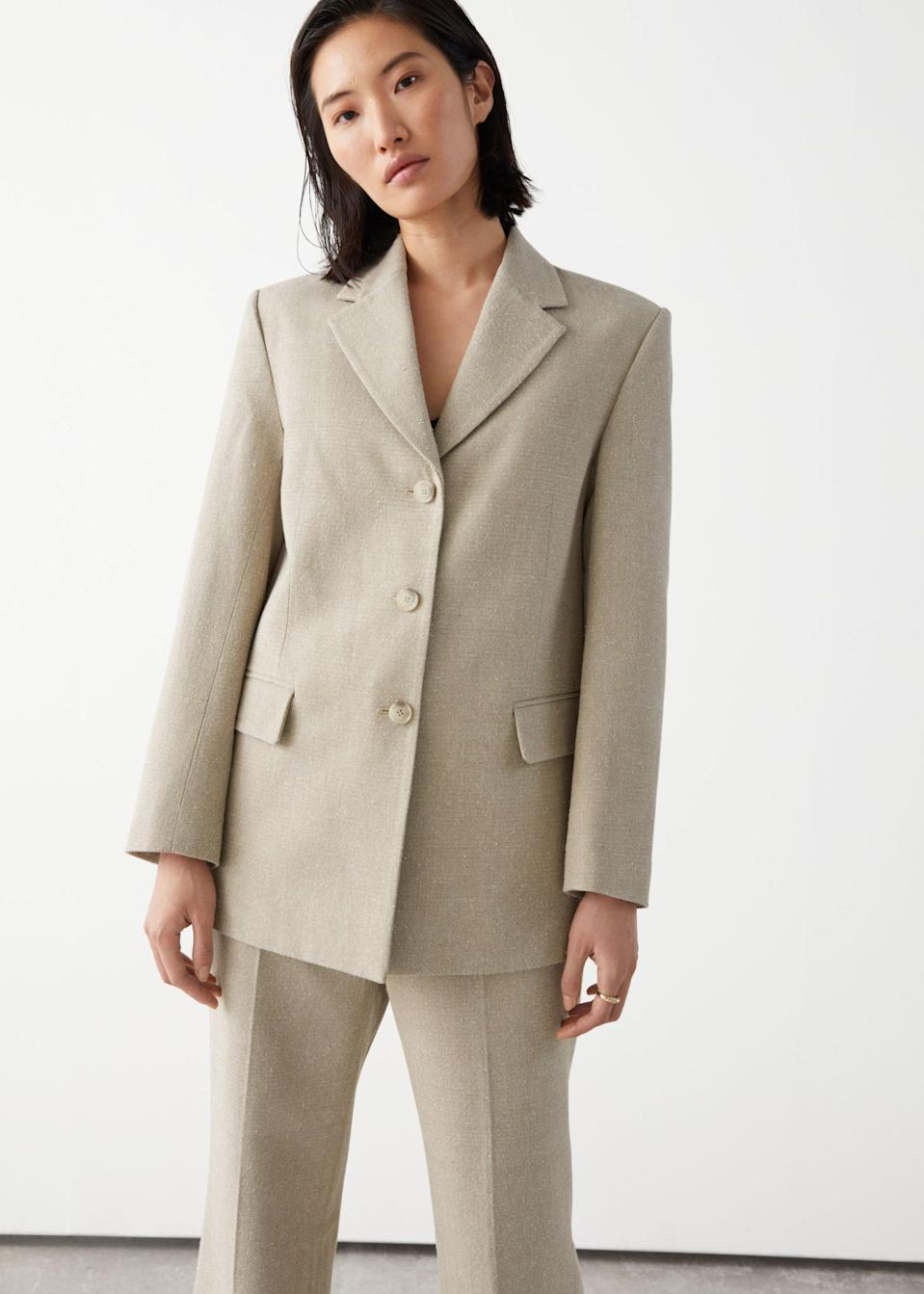 <p>You'll love wearing this <span>&amp; Other Stories Relaxed Long Silk Blazer</span> ($179) with the matching pants or an elegant slip skirt and some mules.</p>