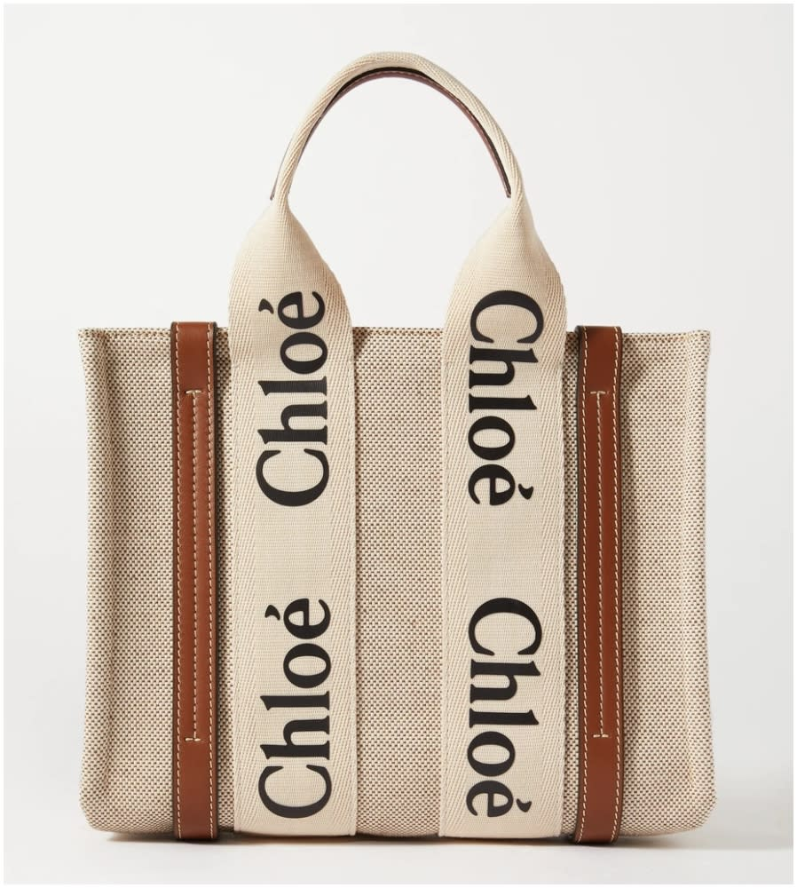 CHLOÉ Woody small leather-trimmed cotton-canvas tote