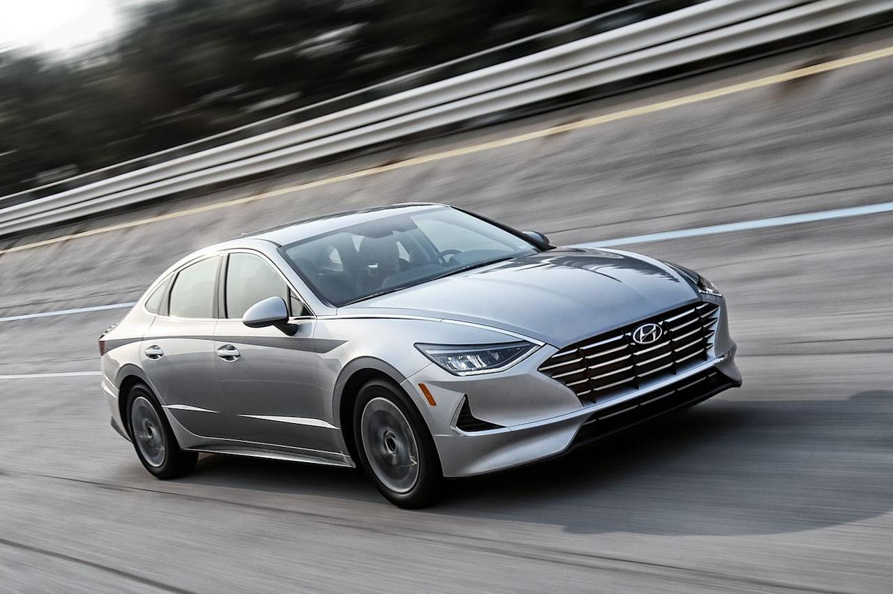 <p>Notice some Aston Martin influence in the Sonata from the front? That's partially due to a similar hood execution, where the sheetmetal extends all the way out to the leading edge of the vehicle. From the driver's seat, it cascades out of view like an infinity pool rendered in steel.</p>