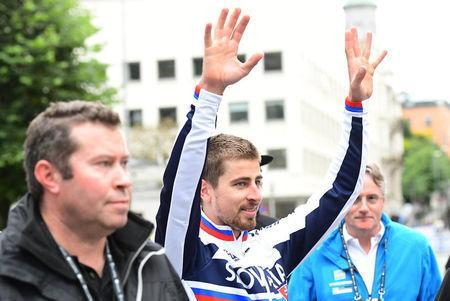 Peter Sagan of Slovakia reacts after winning Men Elite Road Race at the UCI 2017 Road World Championship, in Bergen, Norway. NTB SCANPIX/Marit Hommedal via REUTERS