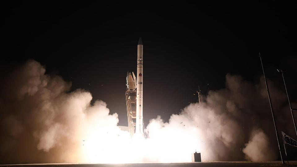"""In this photo released by Israel Ministry of Defense Spokesperson's Office, the """"Ofek 16"""" reconnaissance satellite blasts off at the Palmachim air base in central Israel Monday, July 6, 2020. The new satellite, which quickly entered orbit, joins a collection of spy satellites that Israel has deployed in recent years. (Israel Ministry of Defense Spokesperson's Office via AP)"""