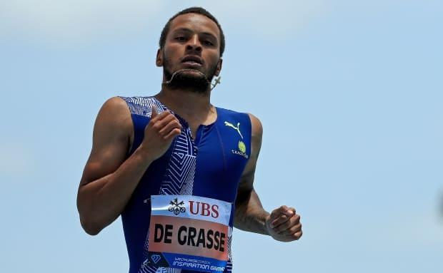 Canada's Andre De Grasse, seen above in July 2020, ran a 10.05 in the 100 metres to finish second at the North Florida Invitational on Friday. (Mike Ehrmann/Getty Images - image credit)
