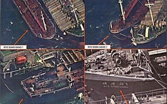 The US Treasury published surveillance photographs reportedly taken on October 19 of the North Korean vessel Rye Song Gang 1 lashed to a large Chinese vessel in deep waters