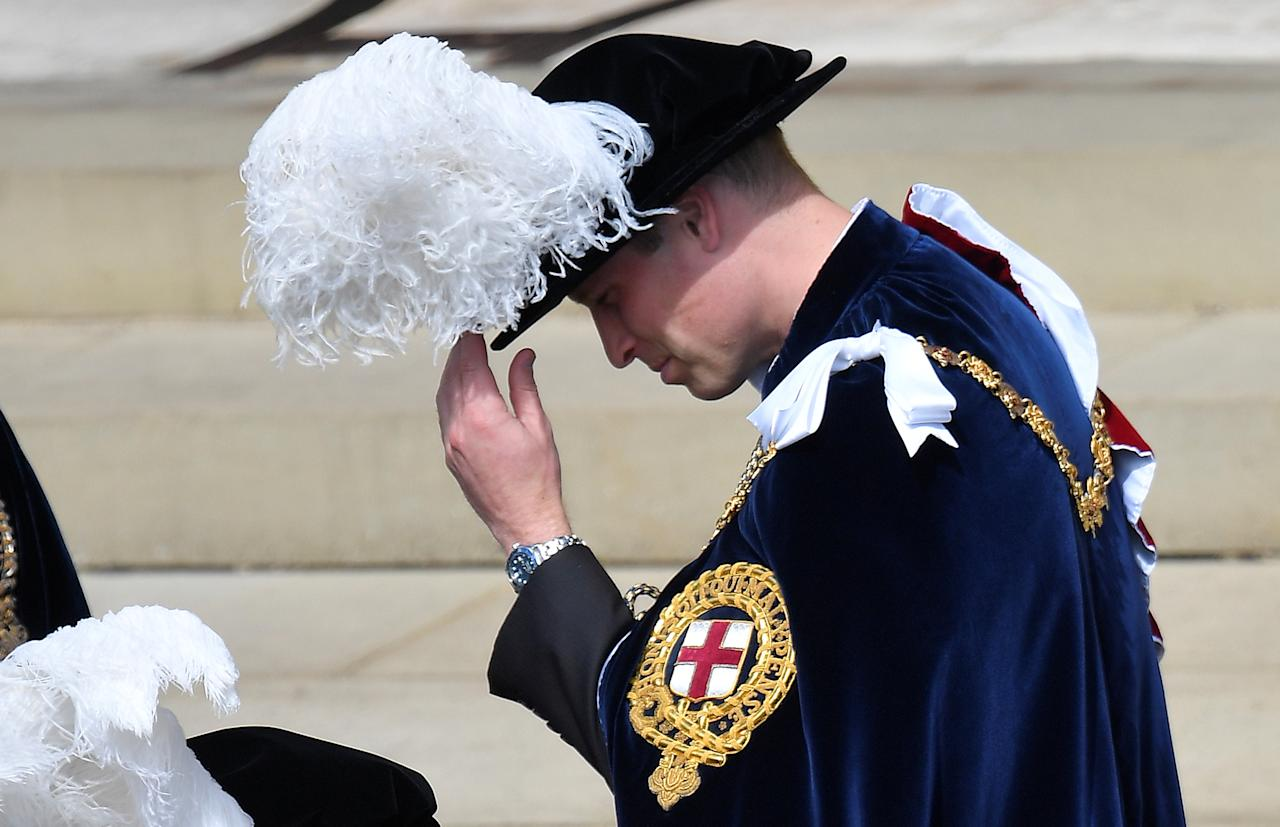 Britain's Prince William departs after attending the Order of the Garter ceremony and service at St. Georges's Chapel in Windsor, Britain, June 18, 2018. REUTERS/Toby Melville