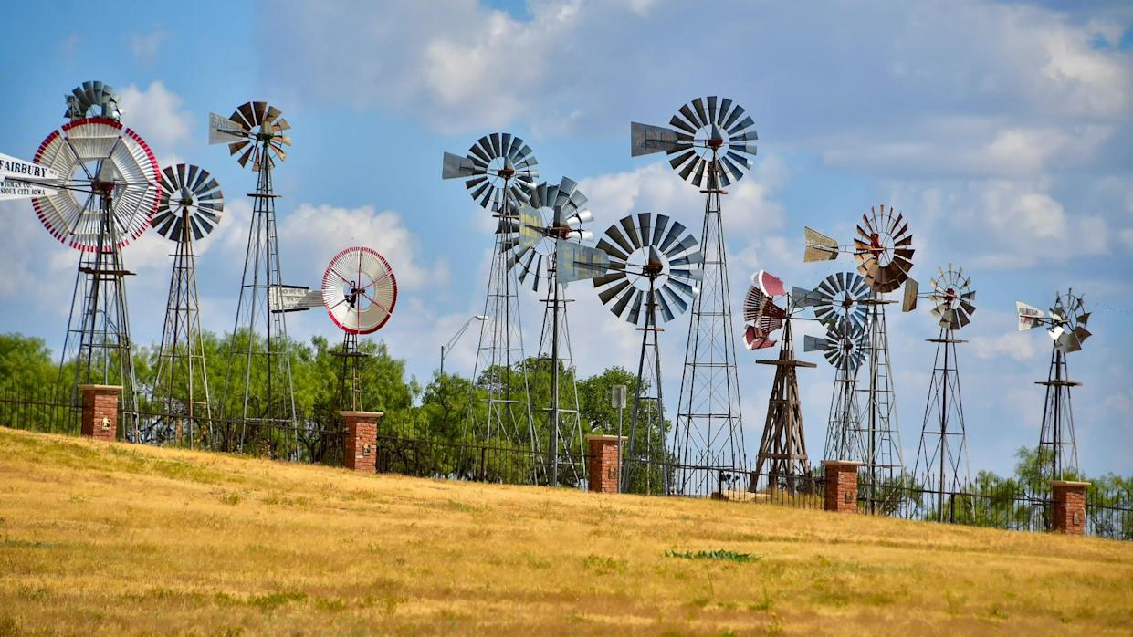 Lubbock, Texas / USA - Circa September 2019 Various windmills in use on the Great Plains of America on display at the American Windmill Museum, in Lubbock , Texas.
