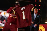<p>A fan proudly showed off Jamin Davis's new Washington Football Team jersey after he was named the 19th selection in the first round.</p>