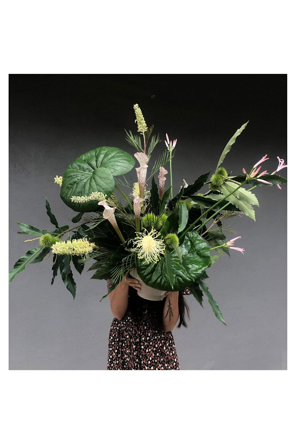 """<p><strong>Isa Isa Floral</strong></p><p>isafloral.com</p><p><strong>$165.00</strong></p><p><a href=""""http://www.isafloral.com/shop/the-sculptural-green-arrangement"""" rel=""""nofollow noopener"""" target=""""_blank"""" data-ylk=""""slk:Shop Now"""" class=""""link rapid-noclick-resp"""">Shop Now</a></p><p>Founded by Sophia Moreno-Bunge, <a href=""""http://www.isafloral.com/"""" rel=""""nofollow noopener"""" target=""""_blank"""" data-ylk=""""slk:Isa Isa Floral"""" class=""""link rapid-noclick-resp"""">Isa Isa Floral</a> is a design studio based in Los Angeles named after her grandmothers. Her inventive arrangements emphasize seasonal, often local and foraged flowers, branches, pods, and fruits. While her fresh floral arrangements stay local to LA, she does ship dry floral arrangements anywhere in the United States. You might recognize her florals seen at the Goop store.</p>"""