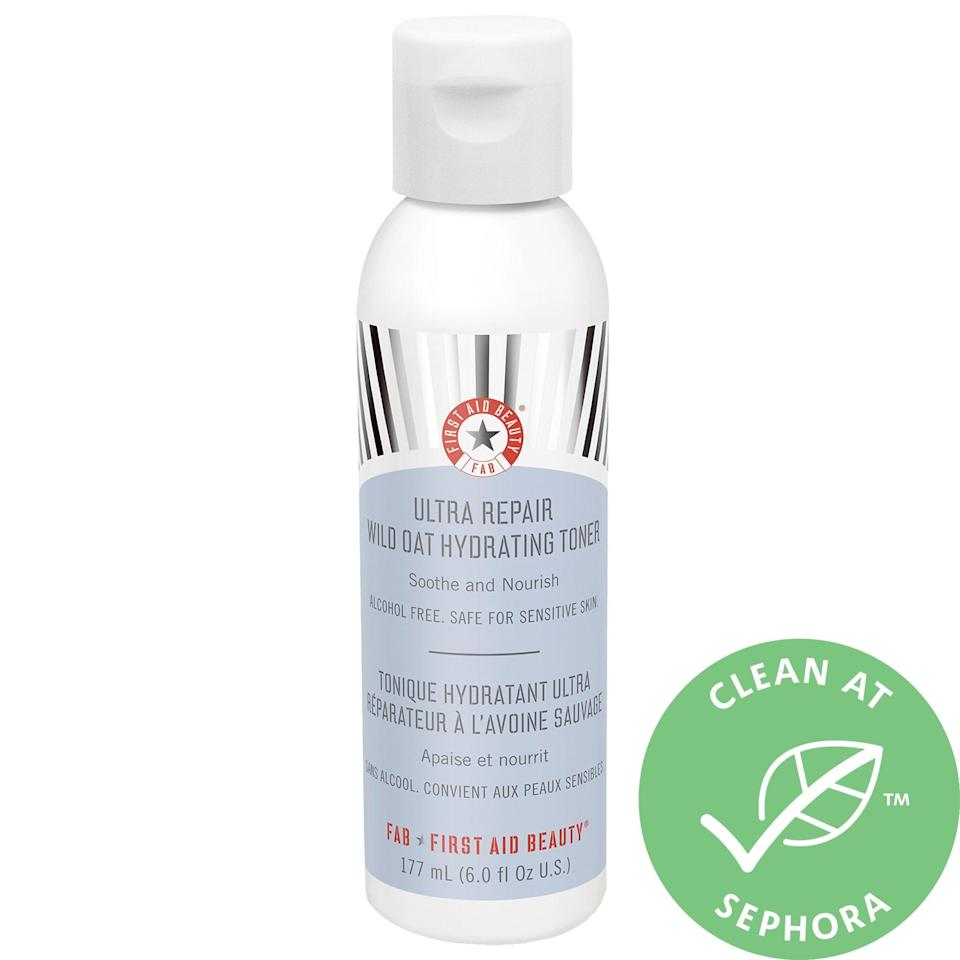 """<p>The milky <a href=""""https://www.popsugar.com/buy/First-Aid-Beauty-Ultra-Repair-Wild-Oat-Hydrating-Toner-572825?p_name=First%20Aid%20Beauty%20Ultra%20Repair%20Wild%20Oat%20Hydrating%20Toner&retailer=sephora.com&pid=572825&price=22&evar1=bella%3Aus&evar9=47461551&evar98=https%3A%2F%2Fwww.popsugar.com%2Fbeauty%2Fphoto-gallery%2F47461551%2Fimage%2F47461554%2FFirst-Aid-Beauty-Ultra-Repair-Wild-Oat-Hydrating-Toner&list1=sephora%2Cdry%20skin%2Cacne%2Csensitive%20skin%2Cbeauty%20shopping%2Cskin%20care&prop13=mobile&pdata=1"""" class=""""link rapid-noclick-resp"""" rel=""""nofollow noopener"""" target=""""_blank"""" data-ylk=""""slk:First Aid Beauty Ultra Repair Wild Oat Hydrating Toner"""">First Aid Beauty Ultra Repair Wild Oat Hydrating Toner</a> ($22) uses both wild oats and colloidal oatmeal to calm stressed skin. Hydrating honey and hyaluronic acid also help plump it up for better absorption of any other soothing products that follow.</p>"""