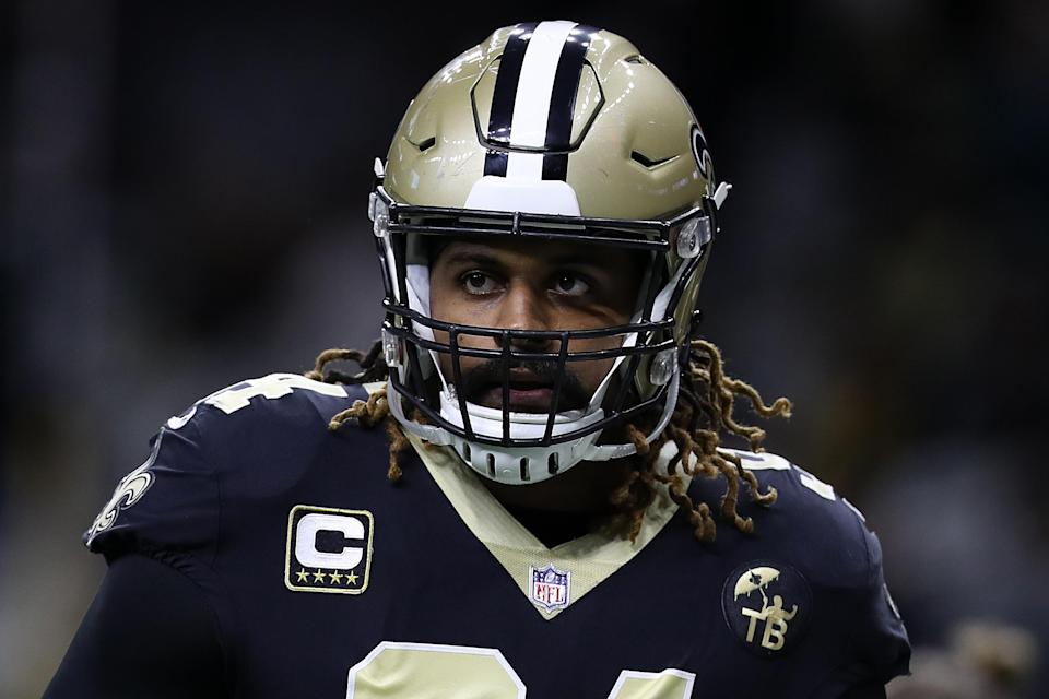 Saints defender Cam Jordan wore his anger at the NFL on his shirt before Sunday's Pro Bowl. (Getty)