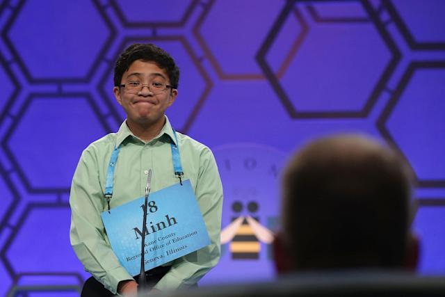 <p>Minh Nguyen of Gilberts, Ill., reacts as he tries to spell his word during round two of 2017 Scripps National Spelling Bee. (Alex Wong/Getty Images) </p>