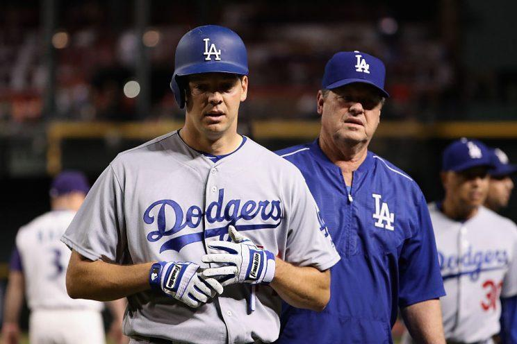 PHOENIX, AZ - SEPTEMBER 15: Rich Hill #44 of the Los Angeles Dodgers walks off the field after the benches were cleared in an arguement during the fifth inning of the MLB game at Chase Field on September 15, 2016 in Phoenix, Arizona. (Photo by Christian Petersen/Getty Images)