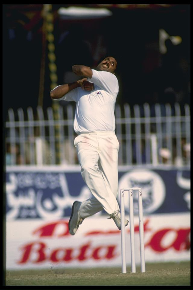Undated : India captain Kapil Dev in bowling action.          Mandatory Credit: Ben Radford/Allsport UK