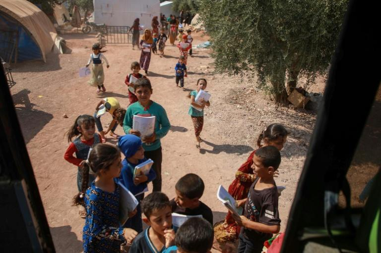 Scores of educational establishments in the Idlib region have been knocked out of action, either through military action or due to precautionary closures (AFP Photo/Aaref WATAD)