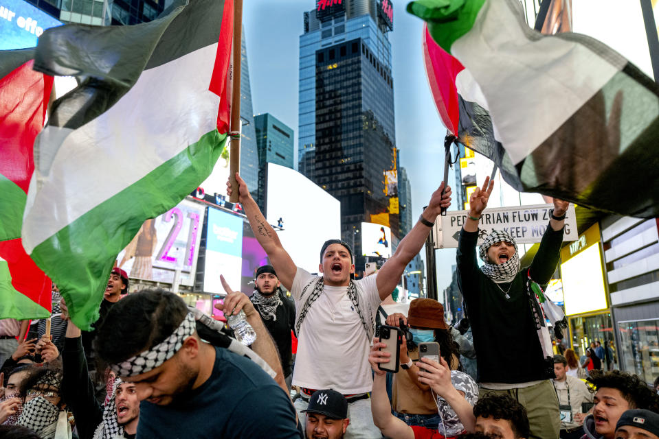 FILE - This photo from Thursday May 20, 2021, shows pro-Palestinian supporters during a demonstration in New York's Times Square, protesting an 11-day war between Israel and Hamas that caused widespread destruction in the Gaza Strip. (AP Photo/Craig Ruttle, File)
