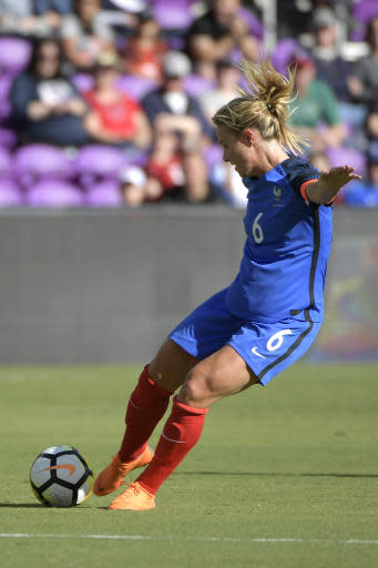 France's Amandine Henry (6) scores a goal during the first half of a SheBelieves Cup women's soccer match against Germany, Wednesday, March 7, 2018, in Orlando, Fla. (AP Photo/Phelan M. Ebenhack)
