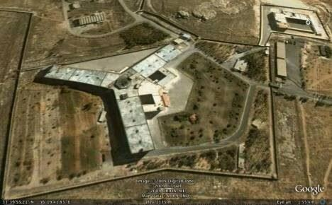 A satellite image of the notorious Sednaya prison