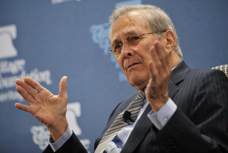 """Former US defense secretary Donald Rumsfeld discussed his memoir """"Known and Unknown"""" at the Heritage Foundation in 2011"""
