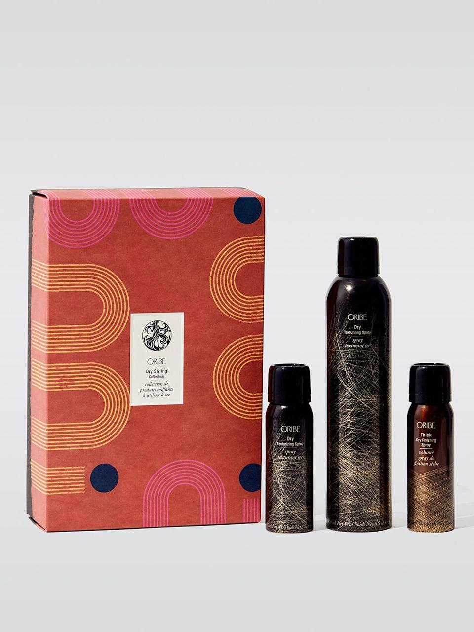 """<p><strong>Oribe</strong></p><p>carbon38.com</p><p><strong>$75.00</strong></p><p><a href=""""https://go.redirectingat.com?id=74968X1596630&url=https%3A%2F%2Fwww.carbon38.com%2Fproduct%2Fdry-styling-collection&sref=https%3A%2F%2Fwww.menshealth.com%2Ftechnology-gear%2Fg34453261%2Fbest-gifts-for-sister%2F"""" rel=""""nofollow noopener"""" target=""""_blank"""" data-ylk=""""slk:BUY IT HERE"""" class=""""link rapid-noclick-resp"""">BUY IT HERE</a></p><p>You might not understand the concept of """"dry styling"""" but this is one set that any sister can appreciate. Oribe makes the best hair products around (if you've ever used the bathroom at a Barry's Bootcamp you would know). The smell is so lovely that it doubles as a perfume.</p>"""