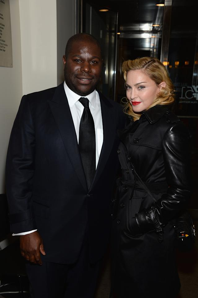 """NEW YORK, NY - OCTOBER 08: Director Steve McQueen and Madonna attend the """"12 Years A Slave"""" premiere during the 51st New York Film Festival at The Film Society of Lincoln Center, Walter Reade Theatre on October 8, 2013 in New York City. (Photo by Dimitrios Kambouris/Getty Images)"""