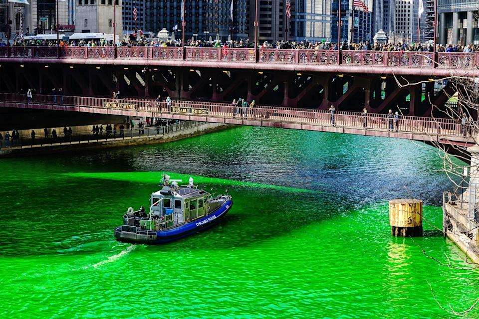 "<p>Every year <a href=""http://www.chicagotribune.com/news/local/ct-st-patricks-day-chicago-river-green-dye-tradition-20160311-story.html"" rel=""nofollow noopener"" target=""_blank"" data-ylk=""slk:since 1962"" class=""link rapid-noclick-resp"">since 1962</a>, the city dyes the river green using 40 pounds of powder, which reacts with the water to produce a green color. Don't worry, it's <a href=""http://mentalfloss.com/article/62220/what-do-they-use-dye-chicago-river-green-st-patricks-day"" rel=""nofollow noopener"" target=""_blank"" data-ylk=""slk:environmentally-friendly"" class=""link rapid-noclick-resp"">environmentally-friendly</a>! </p>"