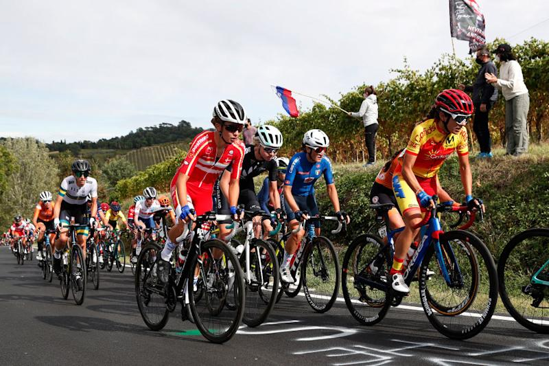 Denmark's Cecilie Uttrup Ludwig climbs during the elite women's road race at the 2020 UCI Road World Championships in Imola, Italy