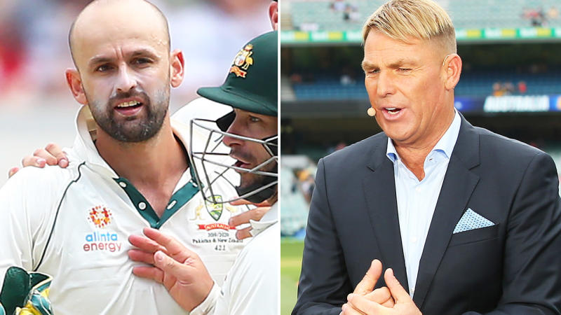 Nathan Lyon and Shane Warne, pictured here during the Boxing Day Test.