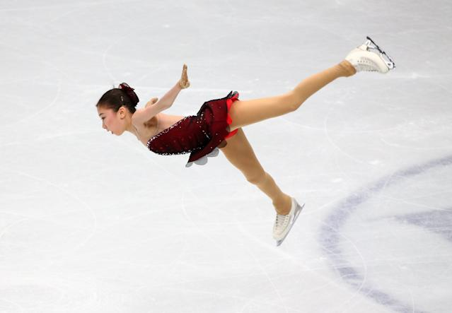 Figure Skating - World Figure Skating Championships - The Mediolanum Forum, Milan, Italy - March 21, 2018 Kazakhstan's Elizabet Tursynbaeva during the Ladies Short Programme REUTERS/Alessandro Bianchi