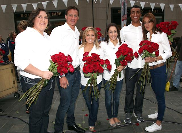 NEW YORK, NY - MAY 08: (L-R) Sarah Robles, Ryan Lochte, Shawn Johnson, Jordyn Wieber, Ashton Eaton and Diana Lopez attend NBC TODAY Show on May 8, 2012 in New York City. (Photo by Paul Zimmerman/Getty Images for P&G)