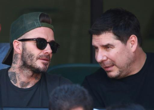 Marcelo Claure (R), CEO of Sprint, is also a major partner of David Beckham (L) in the former star's Miami Major League Soccer franchise