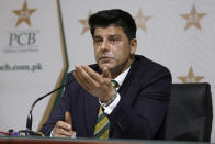 Chief selector of Pakistan Cricket Mohammad Wasim gives a press conference to announce the squad for the upcoming Twenty20 series against South Africa, in Lahore, Pakistan, Sunday, Jan. 31, 2021. Pakistan left out its veteran Twenty20 batsman Mohammad Hafeez for the series against South Africa because of a disagreement on meeting the deadline of Pakistan Cricket Board's bio-secure bubble, chief selector Wasim said. (AP Photo/K.M. Chaudary)