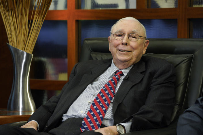 Berkshire Hathaway Vice Chairman Charlie Munger smiles during an interview in Omaha, Neb., Monday, May 7, 2018, with Liz Claman on Fox Business Network's