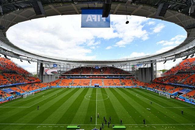 Incredible stadium hosting Egypt and Uruguay clash was deemed too small... so Russia built stands outside the building and cut holes in the walls
