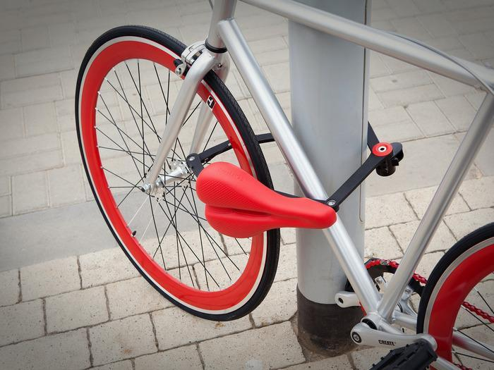 View of the Seatylock, the first saddle that locks your bike.