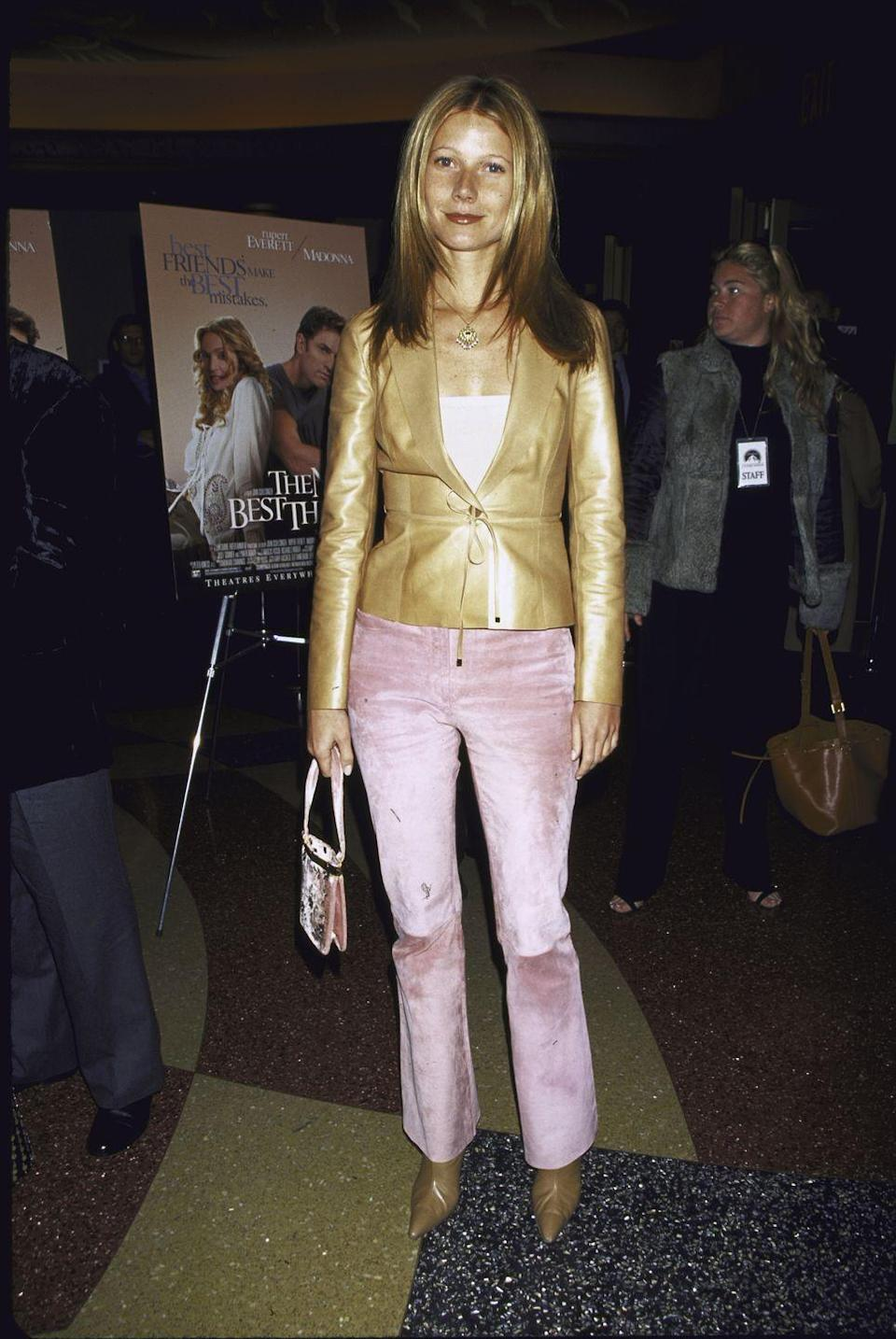 <p>An absolute must of early '00s fashion: Always match your boots to your jacket, and don't you dare forget to match your purse to your pants. Exhibit A: Gwyneth at the premiere of the movie <em>The Next Best Thing</em>.</p>