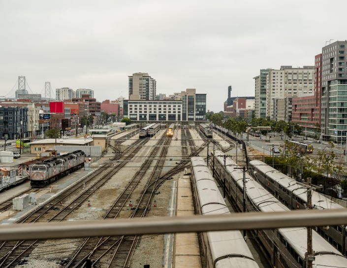 A Caltrain commuter rail yard in San Francisco, Sept. 19, 2021. (Cayce Clifford/The New York Times)