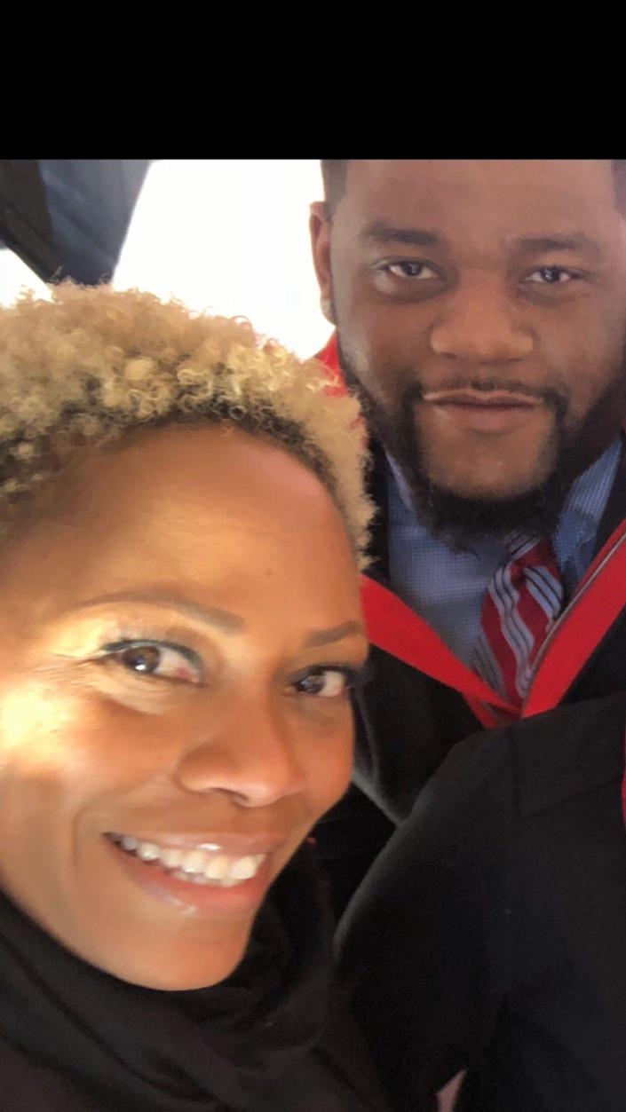 Southwest Airlines flight attendants Marcia Hildreth and Reggie Shepperson, who often traveled together for work. Shepperson died Tuesday from COVID-19.