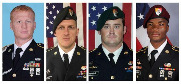 PHOTO: These handout photos released Oct. 8, 2017, show, (L to R), U.S. Army Special Forces Sergeants Jeremiah Johnson, Bryan Black, Dustin Wright and La David Johnson killed in Niger, West Africa on Oct. 4, 2017. (Handout/U.S. Army Special Operation via Reuters)