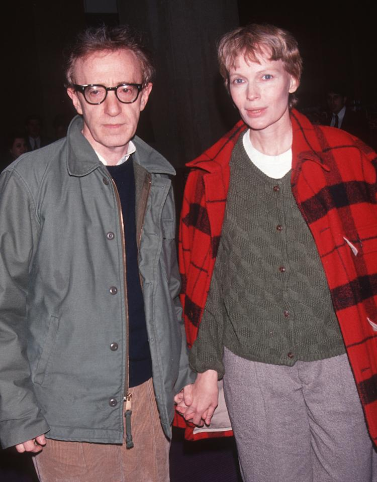 "Actor Woody Allen and actress Mia Farrow attend the party for ""Howards End"" on February 27, 1992 at Tavern on the Green in New York City."