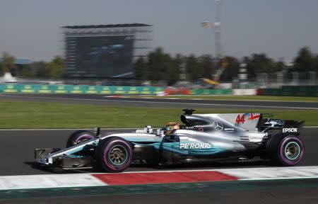 Formula One F1 - Mexican Grand Prix 2017 - Mexico City, Mexico - October 28, 2017. Mercedes' Lewis Hamilton in action during practice. REUTERS/Henry Romero