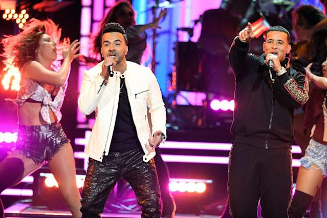 <p>Luis Fonsi (left) and Daddy Yankee (right) perform onstage during the 60th Annual Grammy Awards at Madison Square Garden in New York City on January 28, 2018. (Photo: Getty Images) </p>