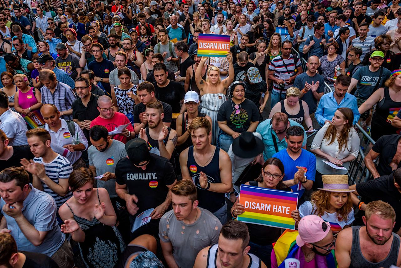 <p>On Monday June 12, 2017 Gays Against Guns and 20 partnering LGBTQ nightclubs participated in the one year anniversary remembering the 49 victims of the Orlando Pulse Nightclub massacre. (Photo: Erik McGregor/Pacific Press/LightRocket via Getty Images) </p>