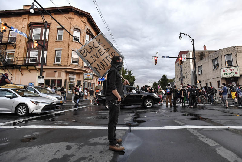 A crowd of protestors took to the streets after the shocking video of Daniel Prude's interaction with police was released. Source: AP