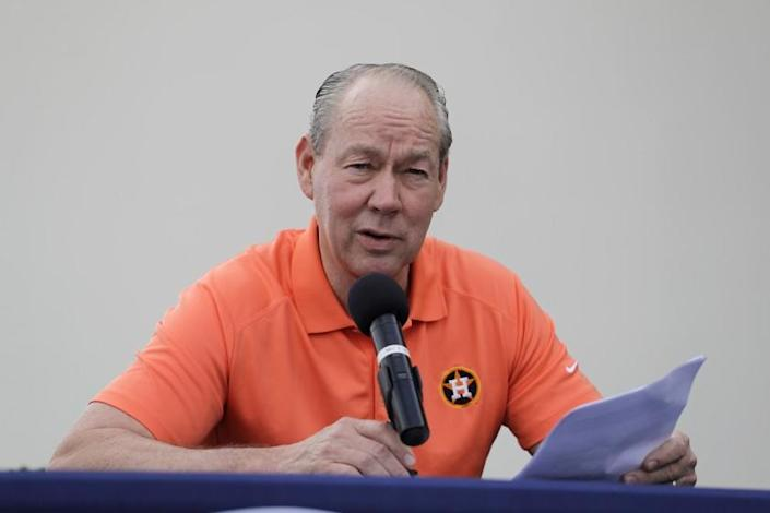 Houston Astros owner Jim Crane speaks during a news conference.