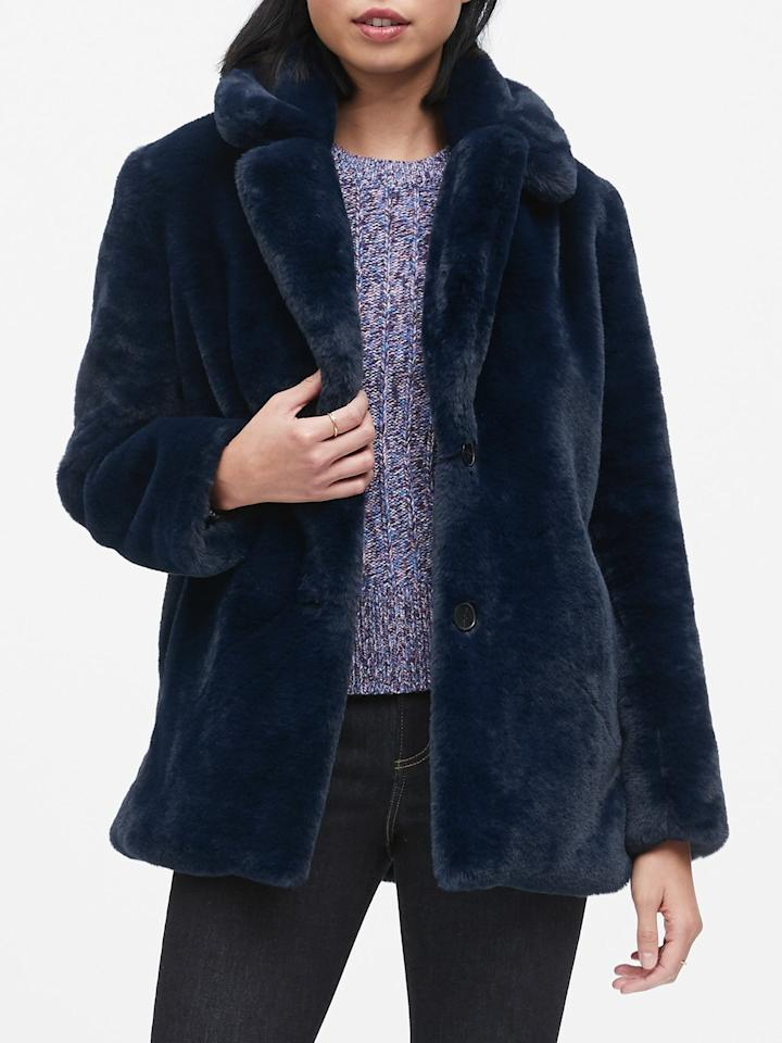 """<p>This <a href=""""https://www.popsugar.com/buy/Banana-Republic-Faux-Fur-Jacket-501134?p_name=Banana%20Republic%20Faux%20Fur%20Jacket&retailer=bananarepublic.gap.com&pid=501134&price=249&evar1=fab%3Auk&evar9=46758398&evar98=https%3A%2F%2Fwww.popsugar.com%2Ffashion%2Fphoto-gallery%2F46758398%2Fimage%2F46758405%2FBanana-Republic-Faux-Fur-Jacket&list1=shopping%2Cbanana%20republic%2Ccoats%2Cwinter%2Couterwear%2Cwinter%20fashion&prop13=api&pdata=1"""" rel=""""nofollow"""" data-shoppable-link=""""1"""" target=""""_blank"""" class=""""ga-track"""" data-ga-category=""""Related"""" data-ga-label=""""https://bananarepublic.gap.com/browse/product.do?pid=494430002&amp;cid=1091938&amp;pcid=99915&amp;vid=1&amp;grid=pds_12_102_1#pdp-page-content"""" data-ga-action=""""In-Line Links"""">Banana Republic Faux Fur Jacket</a> ($249) seems so cozy and chic.</p>"""