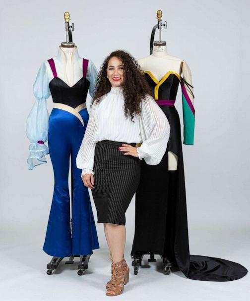 PHOTO: Yelayny Placencia, a fourth-year student with her designs for Anna from 'Frozen.' (Alessandro Casagli for Fashion Institute of Technology)