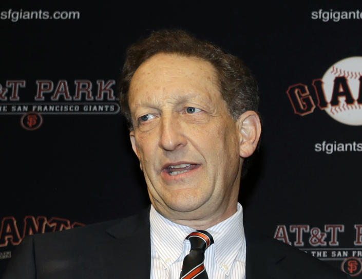 FILE - In this Jan. 19, 2018, file photo, San Francisco Giants President and CEO Larry Baer is shown during a press conference in San Francisco. Baer is taking a leave of absence from the team following the release of a video showing him in a physical altercation with his wife. The Giants board of directors released a statement Monday, March 4, 2019, saying that Baer has been granted a request to take personal time away from the team. (AP Photo/Marcio Jose Sanchez, File)