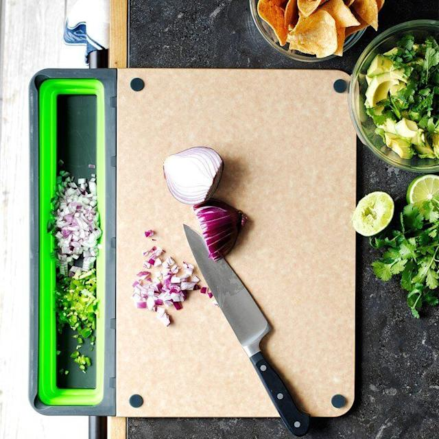 The Cup Board pro takes the pain of transporting chopped food from a cutting board to a bowl. (Photo: Williams Sonoma)