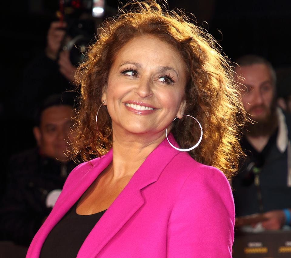 LONDON, UNITED KINGDOM - 2019/10/08: Nadia Sawalha attends The BFI 63rd London Film Festival, American Express Gala screening of 'Knives Out held at the Odeon Luxe, Leicester Square in London. (Photo by Keith Mayhew/SOPA Images/LightRocket via Getty Images)